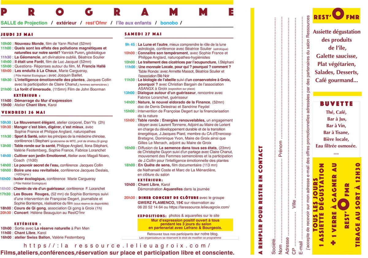 Programme du Salon Ressources 2017 à Groix