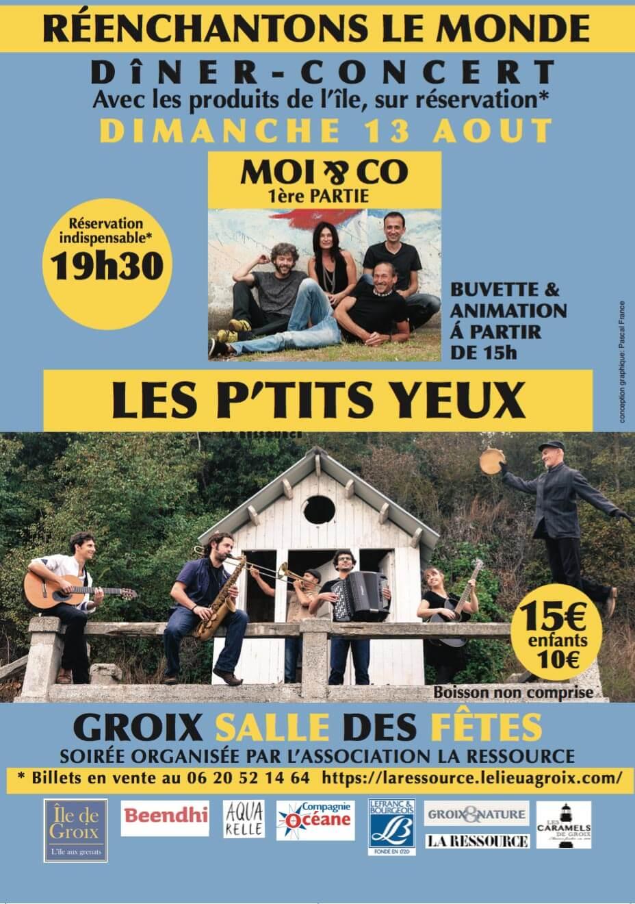 Dîner-Concert Les P'tits Yeux à Groix le 13 août 2017