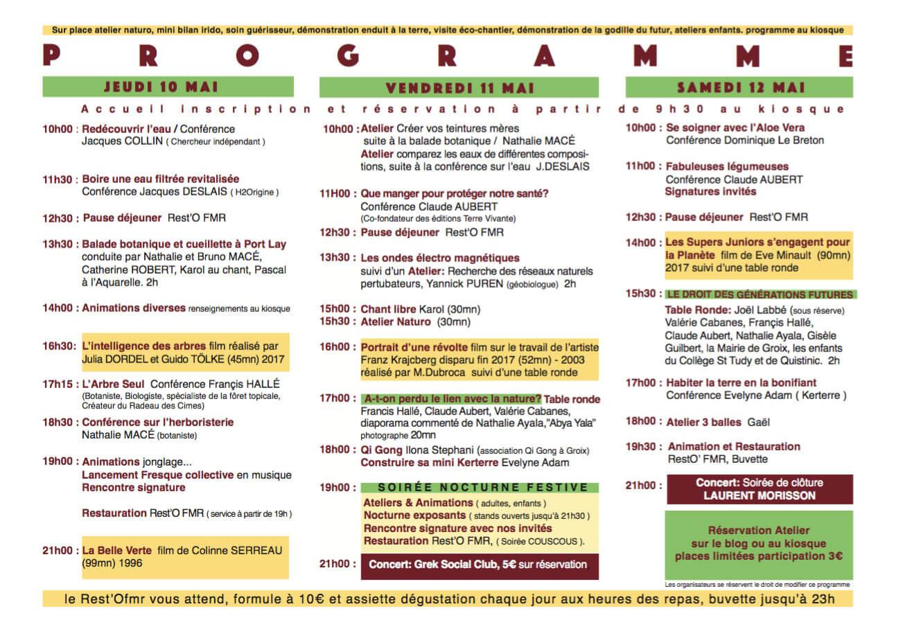Programme du 2ème salon RESSOURCES à Groix en 2018