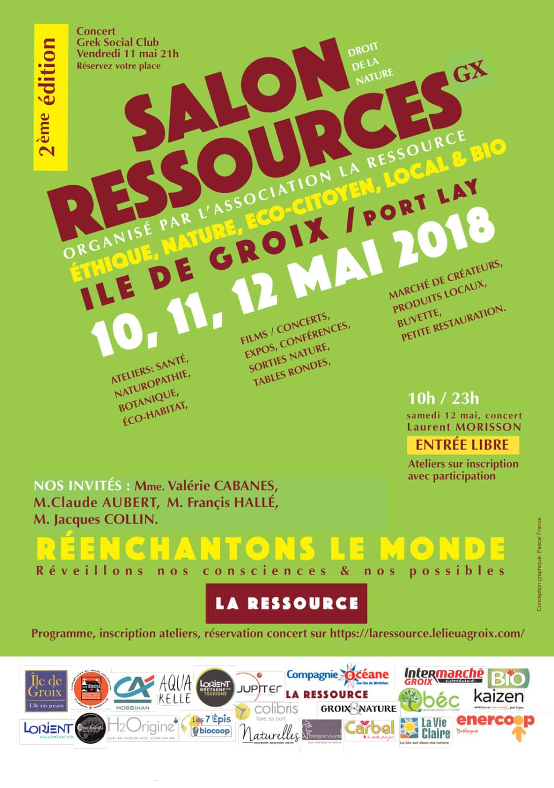 Affiche définitive du 2ème salon RESSOURCES à Groix en 2018