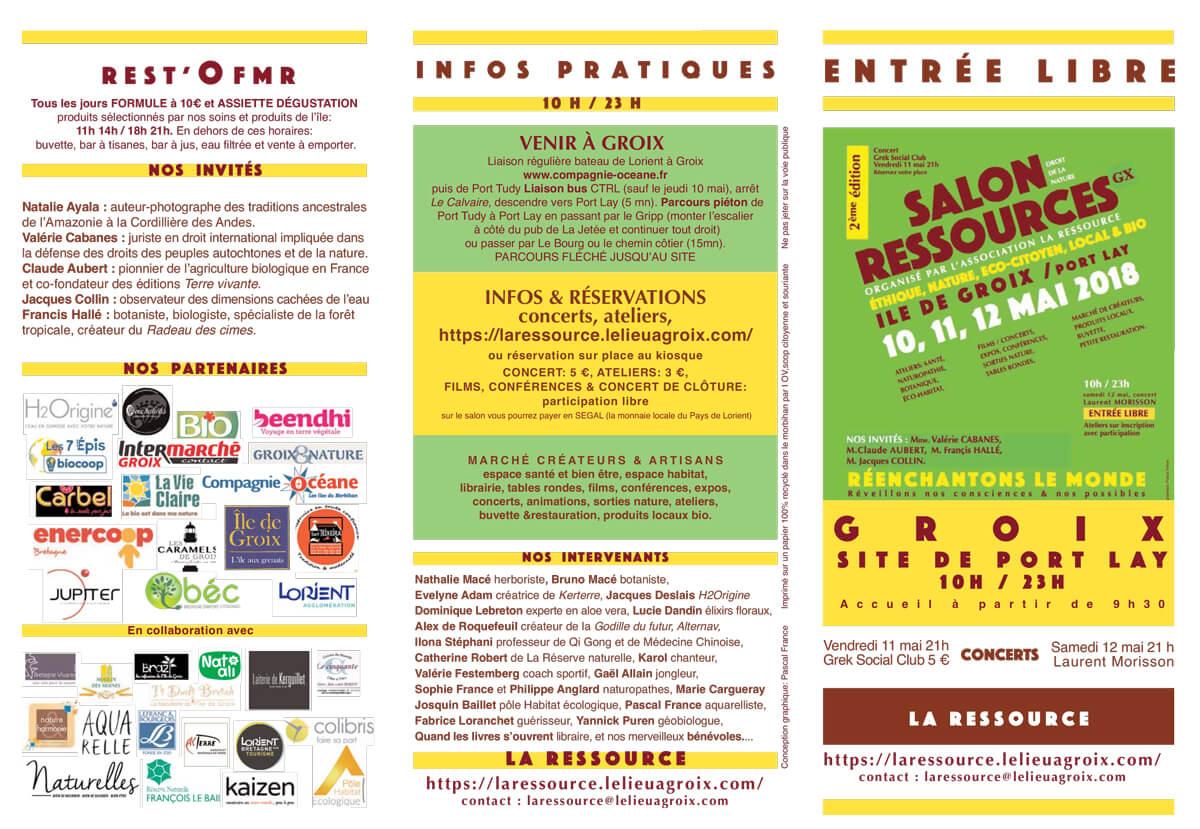 Récapitulatif du 2ème salon RESSOURCES à Groix en 2018